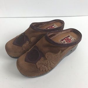 Lucky Brand Leather Fable Clogs Mules Brown & Tan